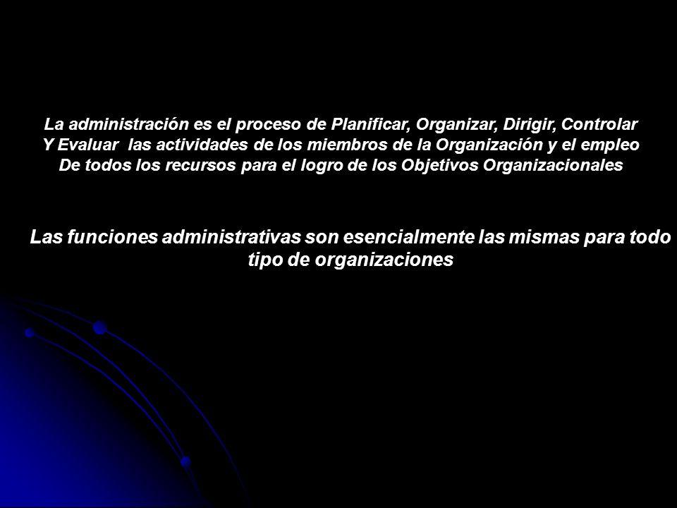 La administración es el proceso de Planificar, Organizar, Dirigir, Controlar Y Evaluar las actividades de los miembros de la Organización y el empleo