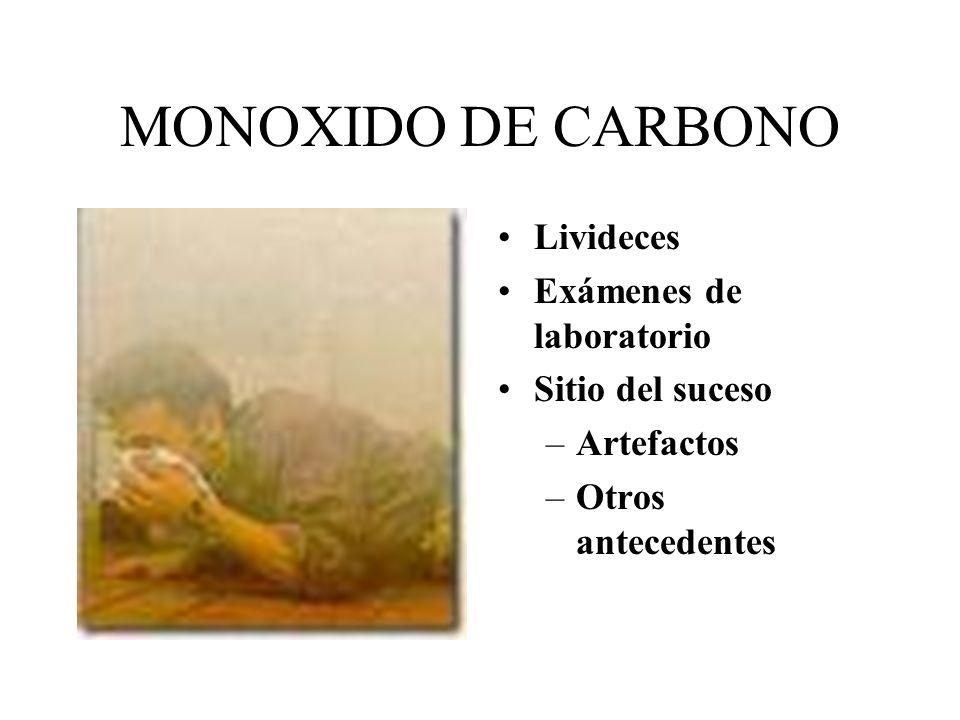 MONOXIDO DE CARBONO Livideces Exámenes de laboratorio Sitio del suceso –Artefactos –Otros antecedentes
