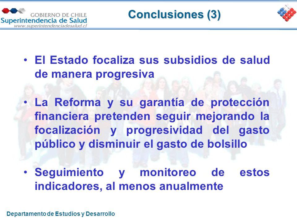 Conclusiones (3) El Estado focaliza sus subsidios de salud de manera progresiva La Reforma y su garantía de protección financiera pretenden seguir mej