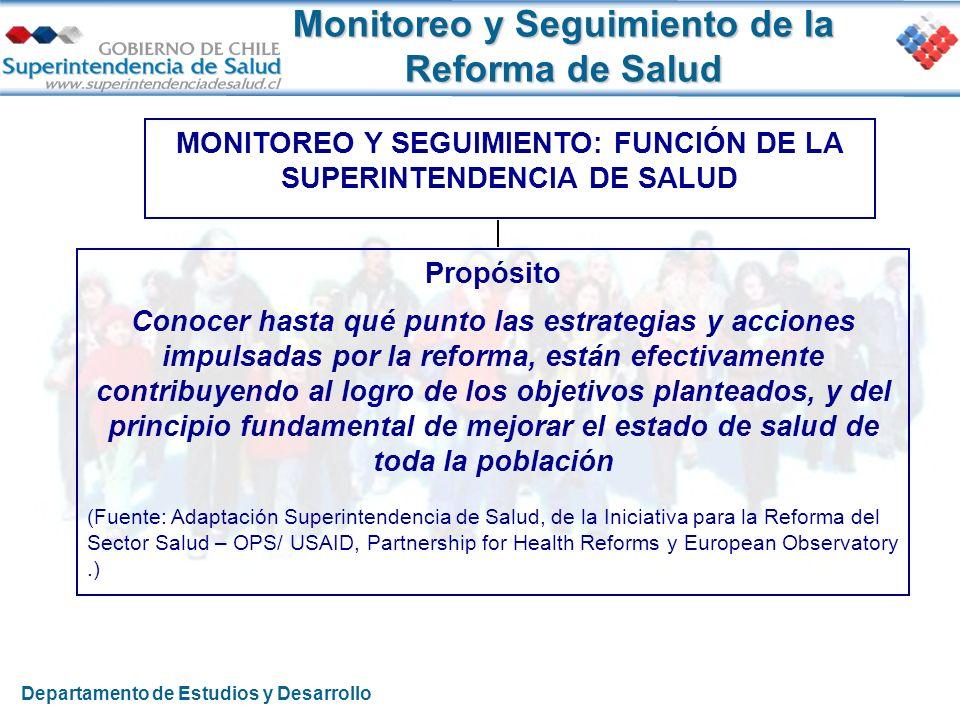Monitoreo y Seguimiento de la Reforma de Salud Propósito Conocer hasta qué punto las estrategias y acciones impulsadas por la reforma, están efectivam