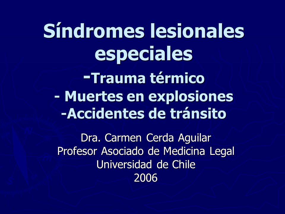 Síndromes lesionales especiales - Trauma térmico - Muertes en explosiones -Accidentes de tránsito Dra. Carmen Cerda Aguilar Profesor Asociado de Medic