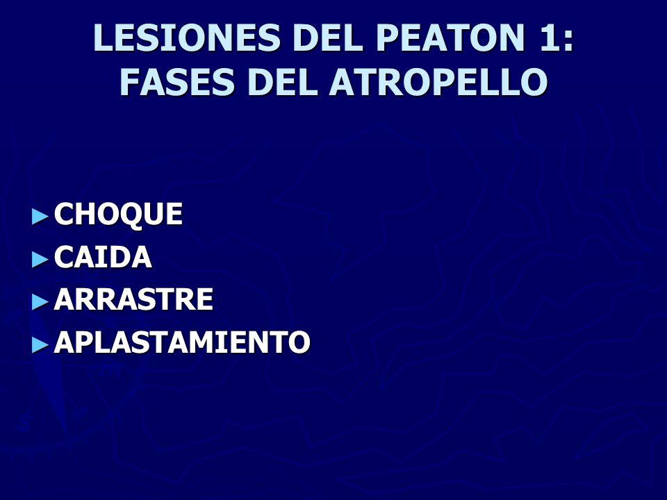 LESIONES DEL PEATON 1: FASES DEL ATROPELLO CHOQUE CHOQUE CAIDA CAIDA ARRASTRE ARRASTRE APLASTAMIENTO APLASTAMIENTO