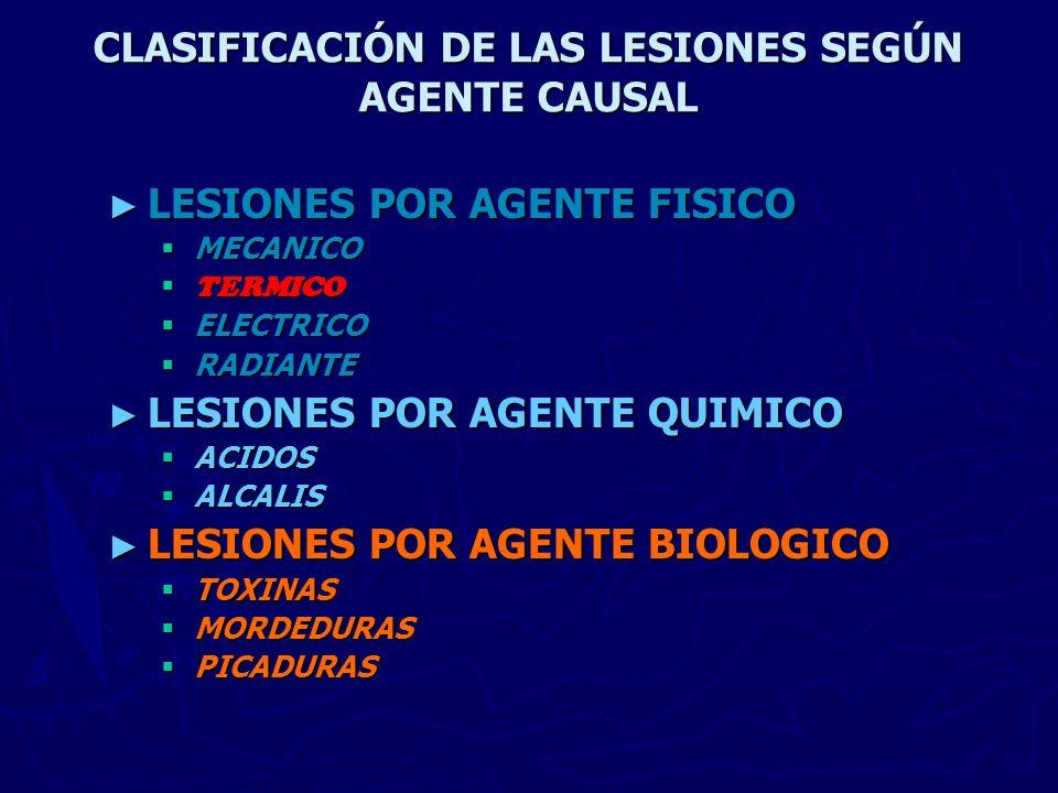 CLASIFICACIÓN DE LAS LESIONES SEGÚN AGENTE CAUSAL LESIONES POR AGENTE FISICO LESIONES POR AGENTE FISICO MECANICO MECANICO TERMICO TERMICO ELECTRICO EL