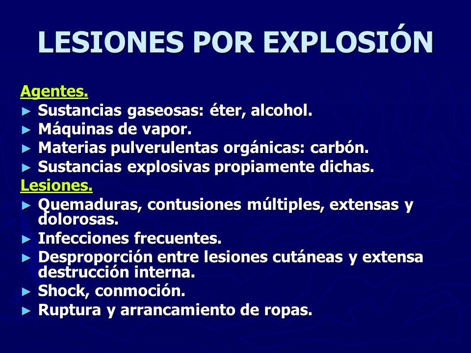 LESIONES POR EXPLOSIÓN Agentes. Sustancias gaseosas: éter, alcohol. Sustancias gaseosas: éter, alcohol. Máquinas de vapor. Máquinas de vapor. Materias