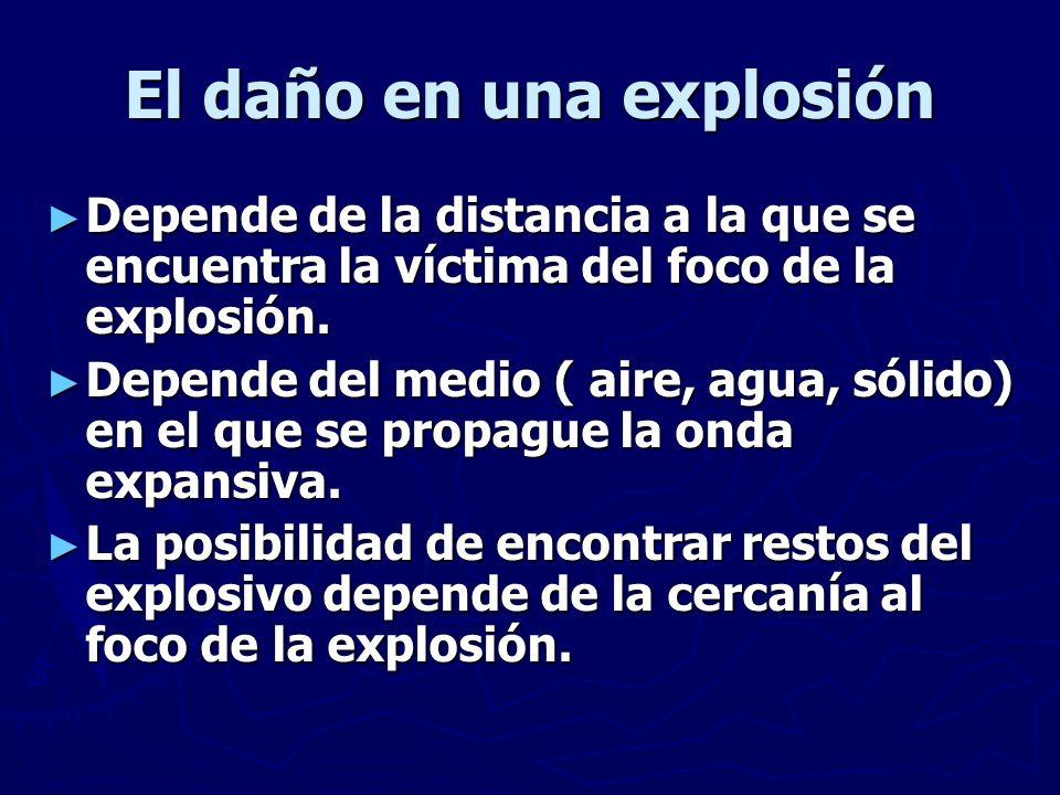El daño en una explosión Depende de la distancia a la que se encuentra la víctima del foco de la explosión. Depende de la distancia a la que se encuen