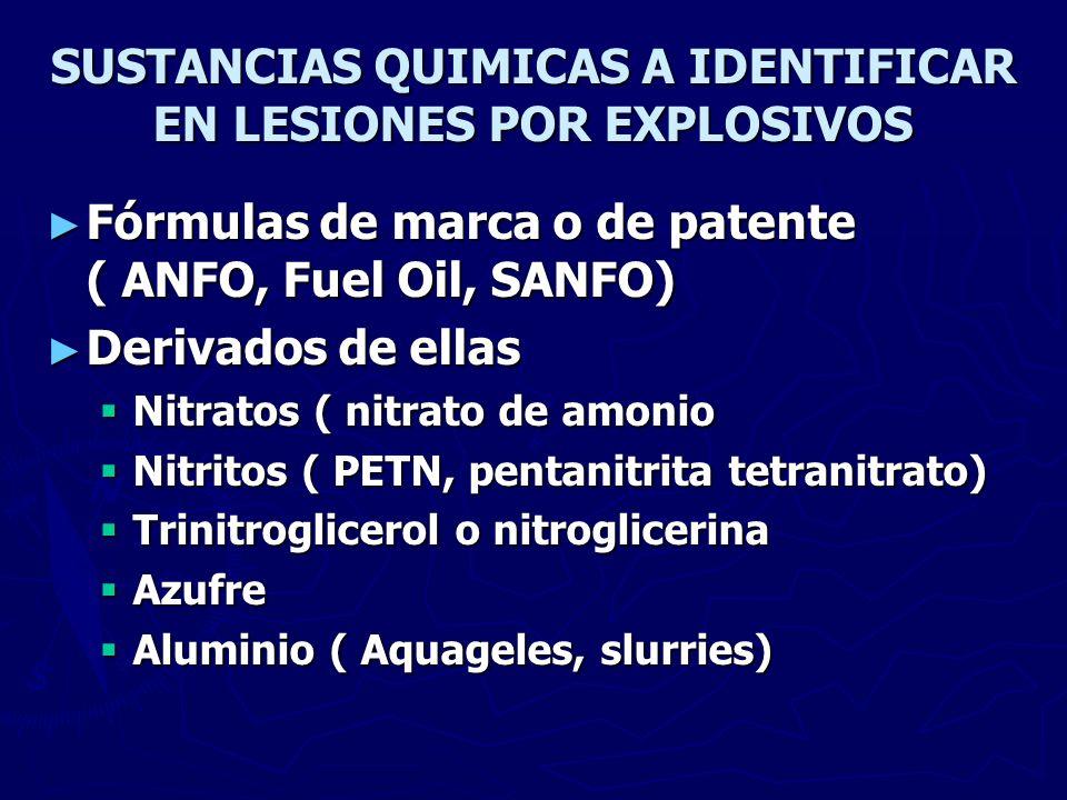 SUSTANCIAS QUIMICAS A IDENTIFICAR EN LESIONES POR EXPLOSIVOS Fórmulas de marca o de patente ( ANFO, Fuel Oil, SANFO) Fórmulas de marca o de patente (