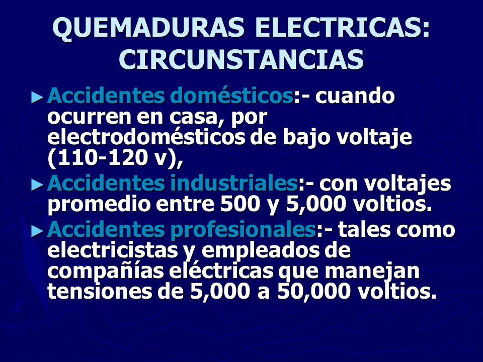 QUEMADURAS ELECTRICAS: MECANISMO Contacto unipolar- Mecanismo más frecuente, el individuo establece contacto con el extremo de un conductor (Ej.: alambre) y la corriente pasa a través de su organismo hacia la tierra.