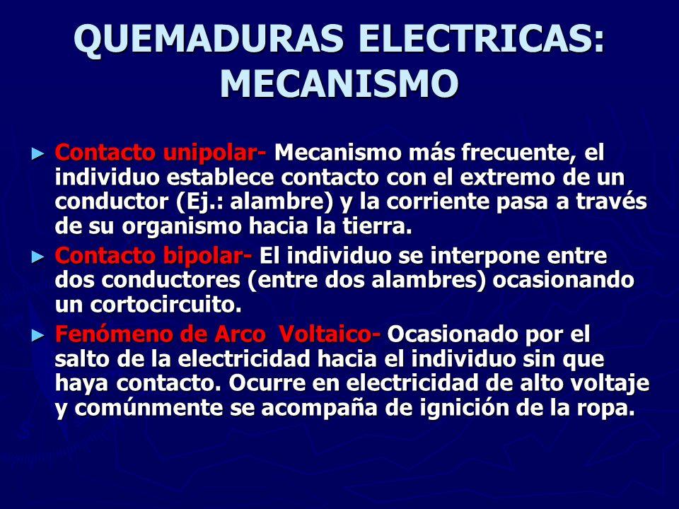 QUEMADURAS ELECTRICAS: MECANISMO Contacto unipolar- Mecanismo más frecuente, el individuo establece contacto con el extremo de un conductor (Ej.: alam