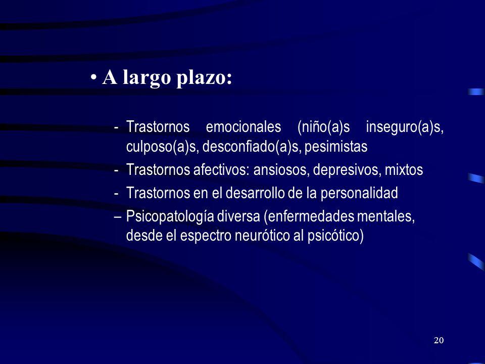 19 Al examen se encuentra: A corto plazo: -Trastornos del desarrollo evolutivo global o específico -Trastornos cognitivos -Trastornos afectivos - rela