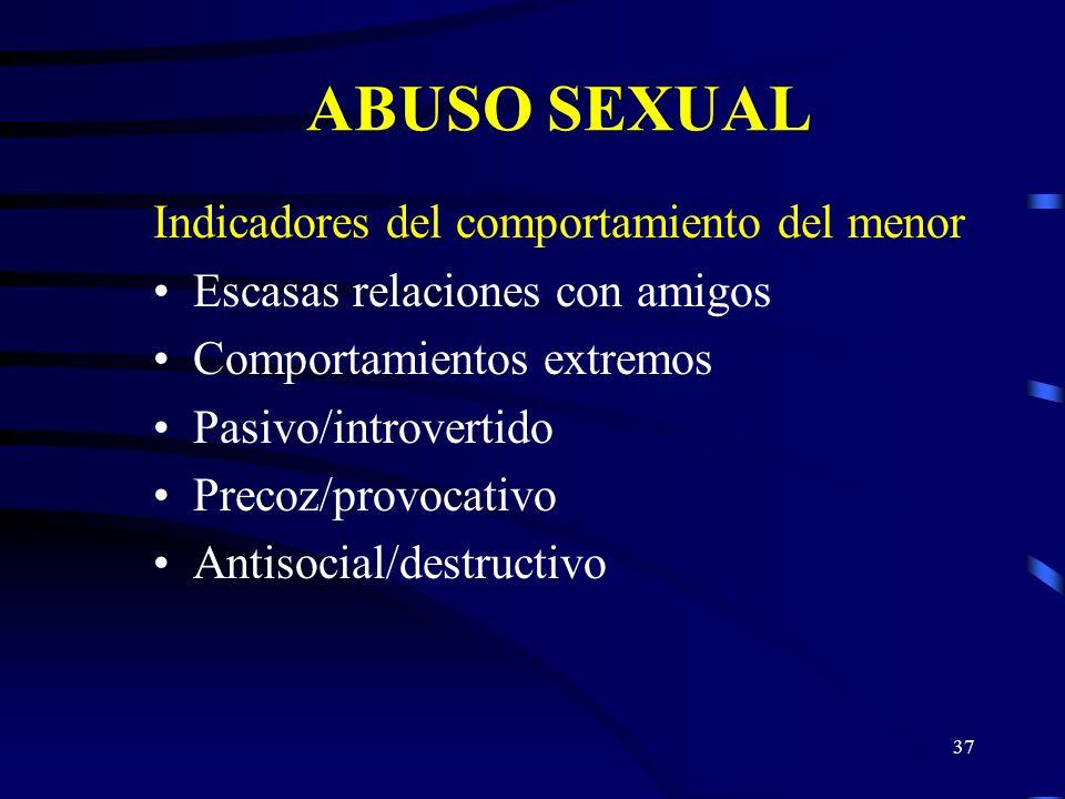 36 ABUSO SEXUAL Características físicas del menor Contusiones sangramiento/laceración en los genitales o ano Picazón o malestar genital o rectal Enfer