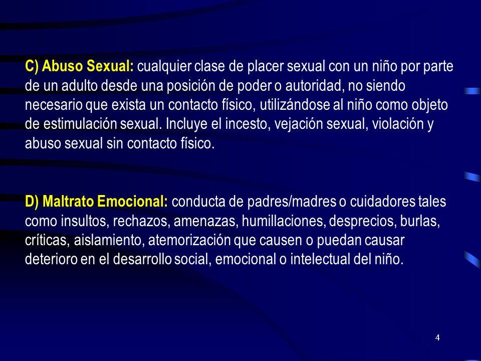 3 A) Maltrato Físico: acción no accidental de algún adulto que provoca daño físico o enfermedad en el niño, o que lo coloca en grave riesgo de padecer
