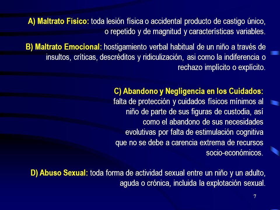6 MINISTERIO DE SALUD CHILE: Grupo de Trabajo en maltrato Infantil (1991) Agresión física, emocional o sexual en contra de un niño menor de 18 años, o