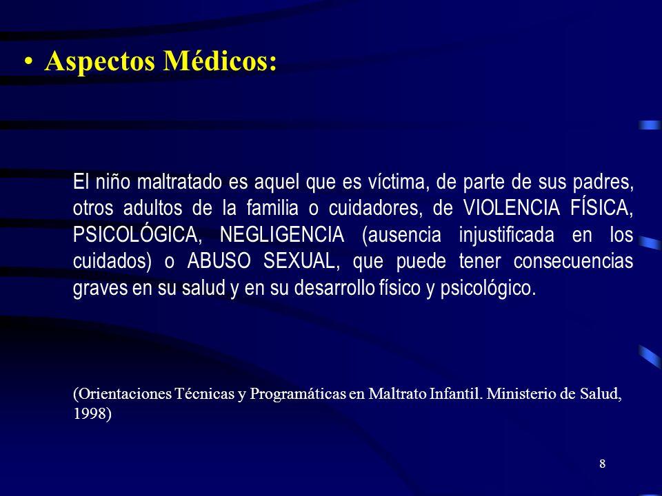7 A) Maltrato Físico: toda lesión física o accidental producto de castigo único, o repetido y de magnitud y características variables. B) Maltrato Emo