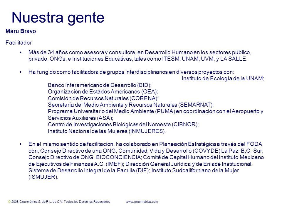 © 2006 Gourmétrica S. de R.L. de C.V. Todos los Derechos Reservados www.gourmetrica.com 11 Nuestra gente Maru Bravo Facilitador Más de 34 años como as