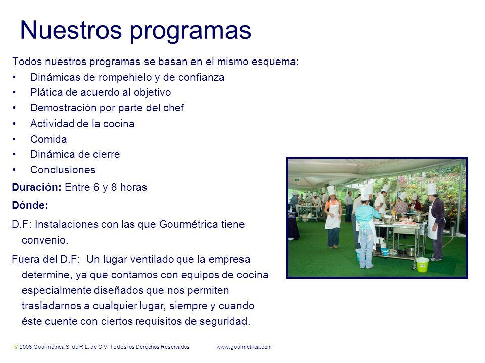 © 2006 Gourmétrica S. de R.L. de C.V. Todos los Derechos Reservados www.gourmetrica.com 5 5 Nuestros programas Todos nuestros programas se basan en el