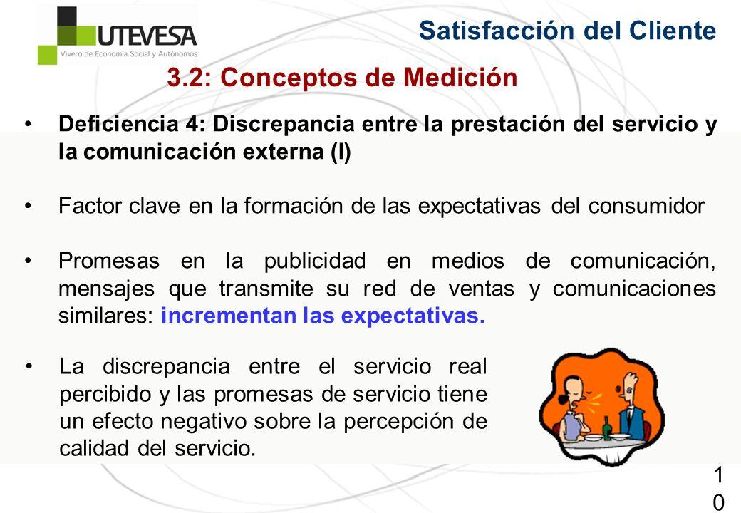100100100 Satisfacción del Cliente Deficiencia 4: Discrepancia entre la prestación del servicio y la comunicación externa (I) Factor clave en la forma