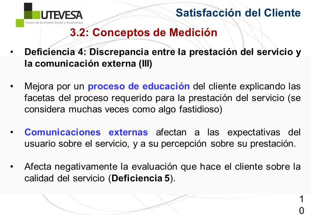102102102 Satisfacción del Cliente Deficiencia 4: Discrepancia entre la prestación del servicio y la comunicación externa (III) Mejora por un proceso