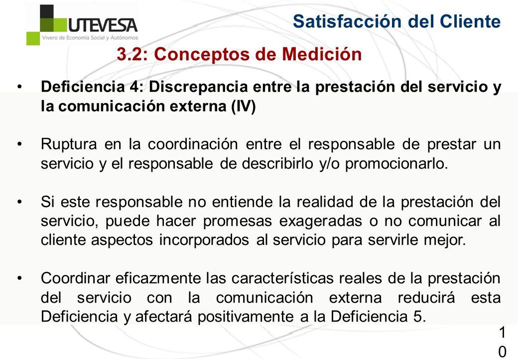 103103103 Satisfacción del Cliente Deficiencia 4: Discrepancia entre la prestación del servicio y la comunicación externa (IV) Ruptura en la coordinación entre el responsable de prestar un servicio y el responsable de describirlo y/o promocionarlo.