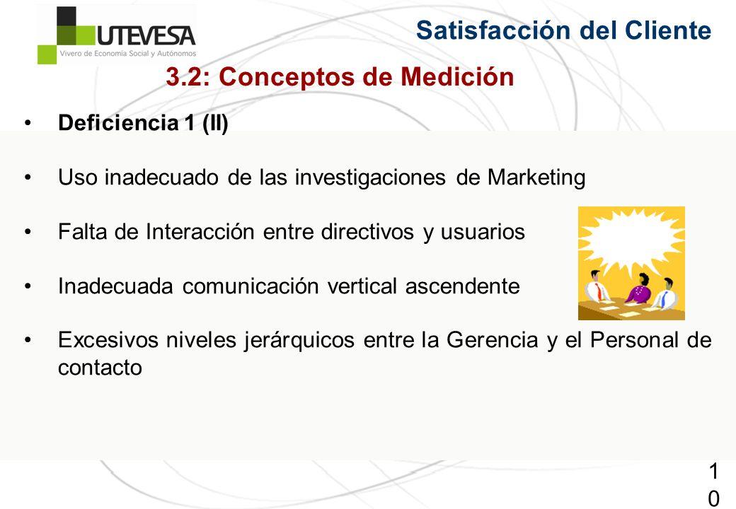 107107107 Satisfacción del Cliente Deficiencia 1 (II) Uso inadecuado de las investigaciones de Marketing Falta de Interacción entre directivos y usuarios Inadecuada comunicación vertical ascendente Excesivos niveles jerárquicos entre la Gerencia y el Personal de contacto 3.2: Conceptos de Medición
