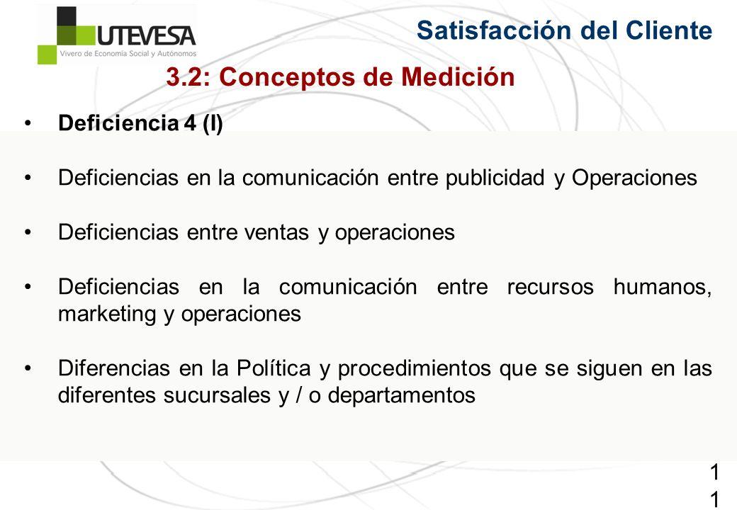 110110110 Deficiencia 4 (I) Deficiencias en la comunicación entre publicidad y Operaciones Deficiencias entre ventas y operaciones Deficiencias en la comunicación entre recursos humanos, marketing y operaciones Diferencias en la Política y procedimientos que se siguen en las diferentes sucursales y / o departamentos Satisfacción del Cliente 3.2: Conceptos de Medición