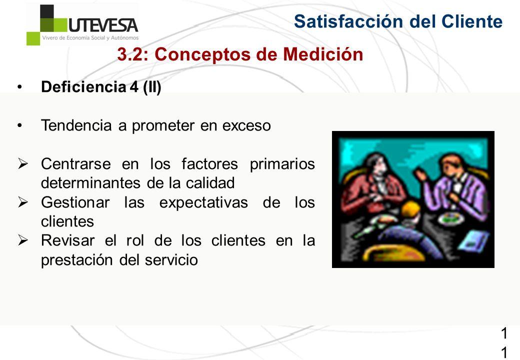 111111111 Deficiencia 4 (II) Tendencia a prometer en exceso Centrarse en los factores primarios determinantes de la calidad Gestionar las expectativas de los clientes Revisar el rol de los clientes en la prestación del servicio Satisfacción del Cliente 3.2: Conceptos de Medición
