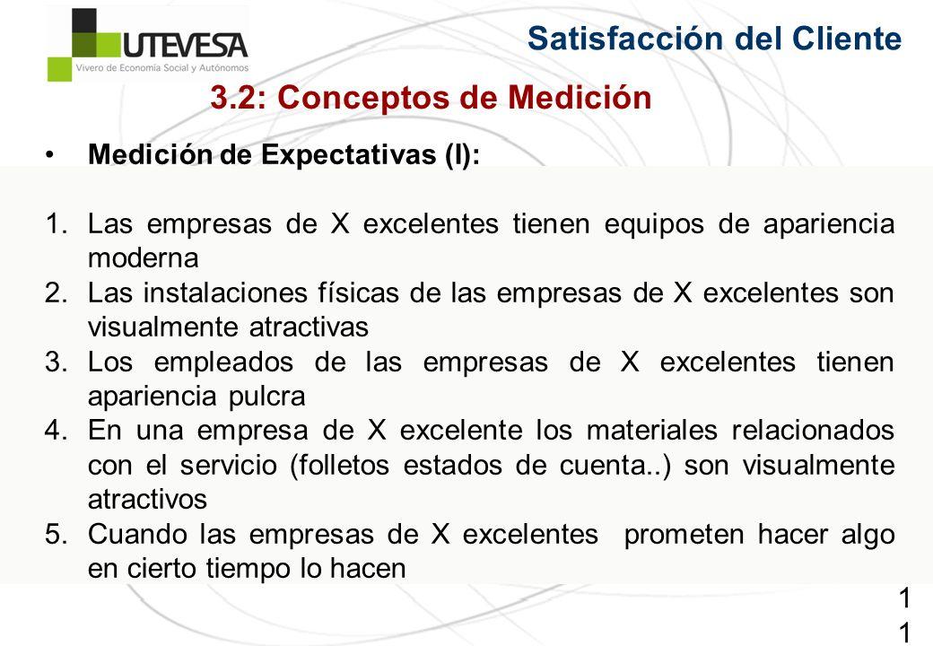115115115 Satisfacción del Cliente Medición de Expectativas (I): 1.Las empresas de X excelentes tienen equipos de apariencia moderna 2.Las instalacion