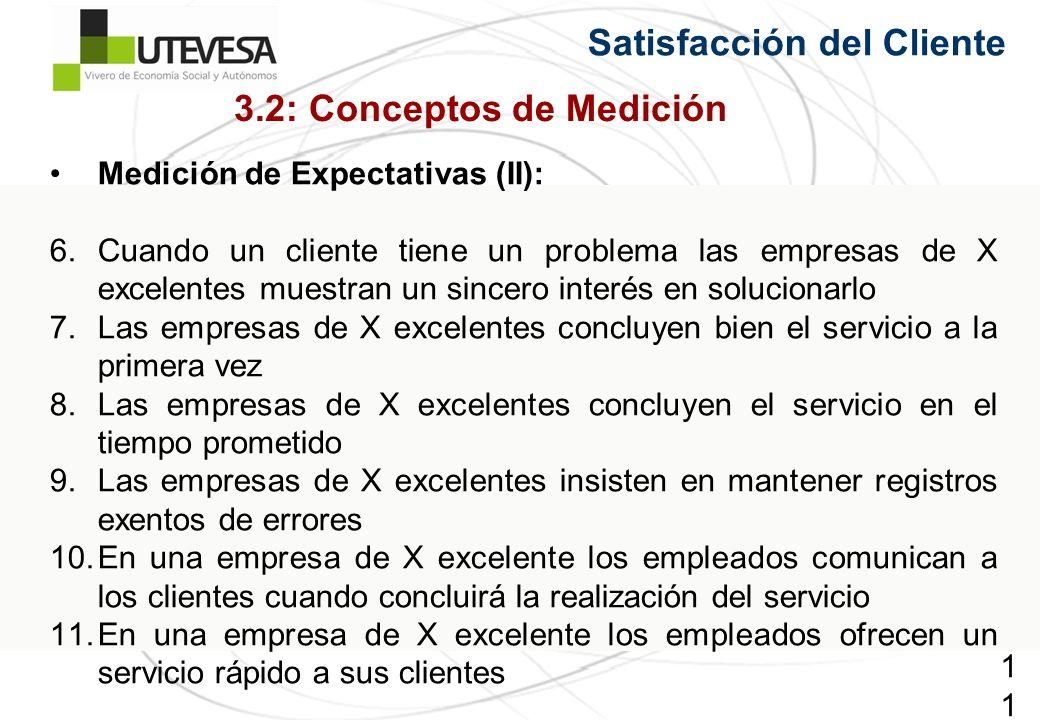 116116116 Satisfacción del Cliente Medición de Expectativas (II): 6.Cuando un cliente tiene un problema las empresas de X excelentes muestran un since