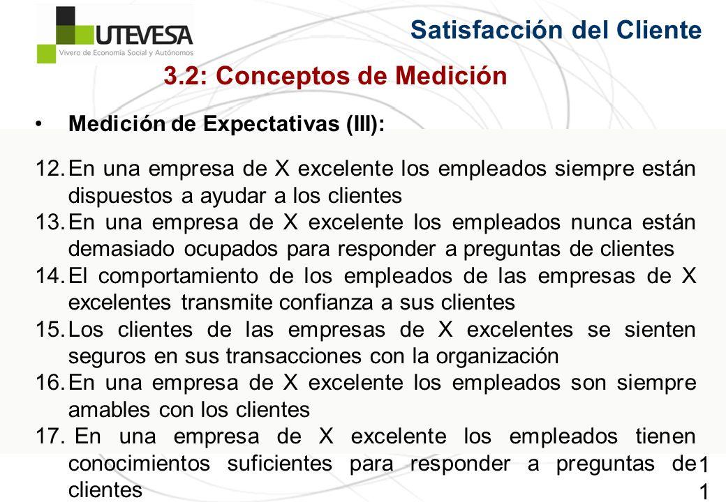 117117117 Satisfacción del Cliente Medición de Expectativas (III): 12.En una empresa de X excelente los empleados siempre están dispuestos a ayudar a