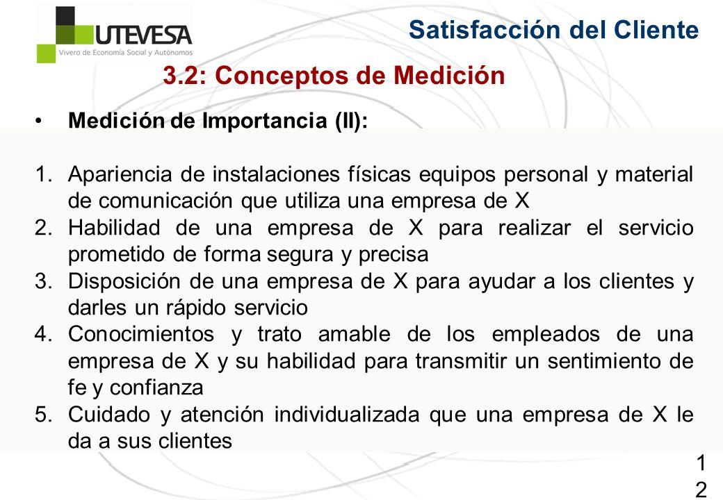 120120120 Satisfacción del Cliente Medición de Importancia (II): 1.Apariencia de instalaciones físicas equipos personal y material de comunicación que
