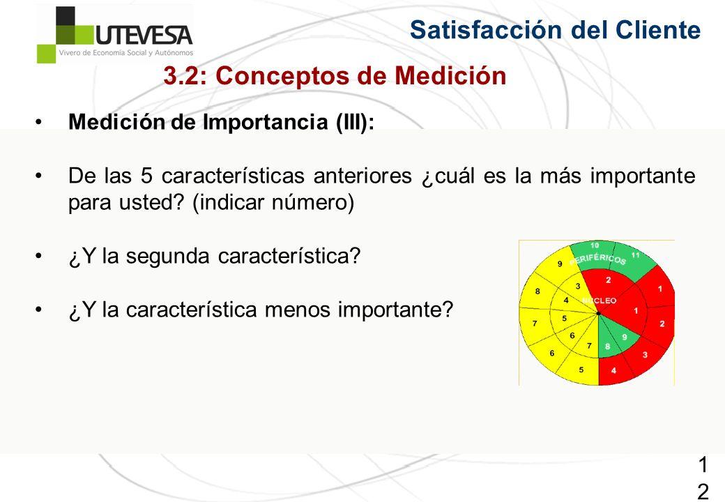 121121121 Satisfacción del Cliente Medición de Importancia (III): De las 5 características anteriores ¿cuál es la más importante para usted? (indicar