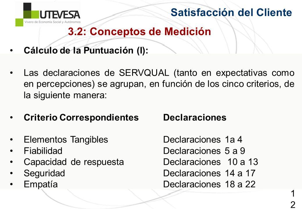125125125 Satisfacción del Cliente Cálculo de la Puntuación (I): Las declaraciones de SERVQUAL (tanto en expectativas como en percepciones) se agrupan, en función de los cinco criterios, de la siguiente manera: Criterio Correspondientes Declaraciones Elementos Tangibles Declaraciones 1a 4 FiabilidadDeclaraciones 5 a 9 Capacidad de respuestaDeclaraciones 10 a 13 SeguridadDeclaraciones 14 a 17 EmpatíaDeclaraciones 18 a 22 3.2: Conceptos de Medición
