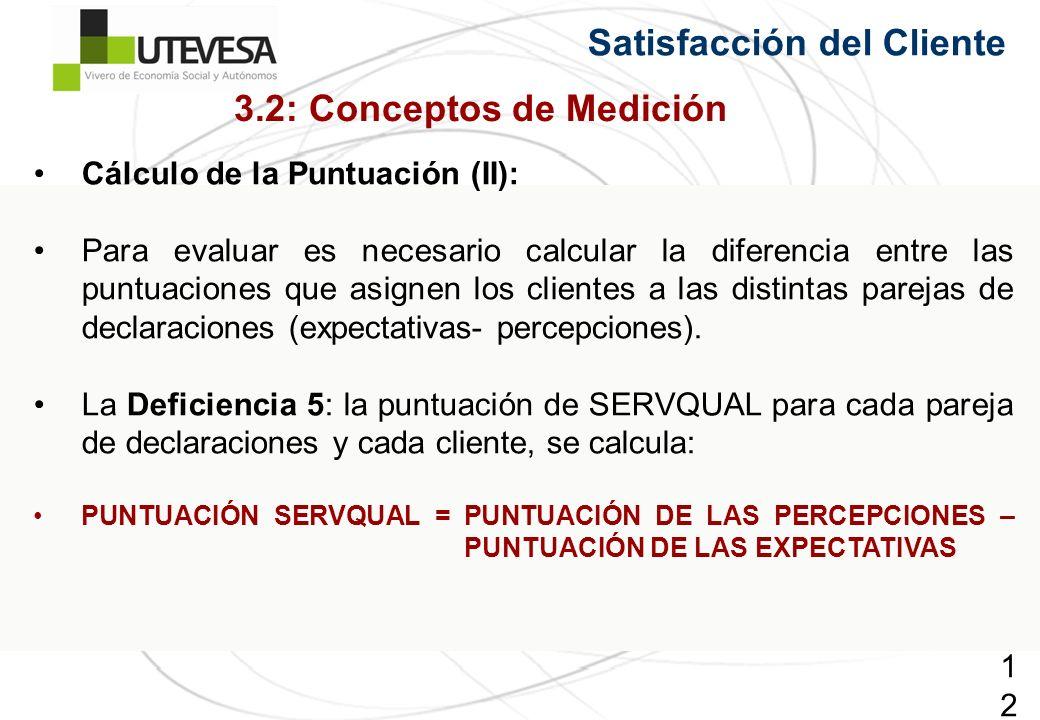 126126126 Satisfacción del Cliente Cálculo de la Puntuación (II): Para evaluar es necesario calcular la diferencia entre las puntuaciones que asignen los clientes a las distintas parejas de declaraciones (expectativas- percepciones).