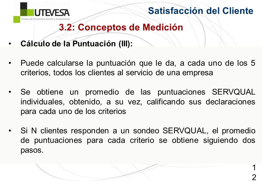 127127127 Satisfacción del Cliente Cálculo de la Puntuación (III): Puede calcularse la puntuación que le da, a cada uno de los 5 criterios, todos los
