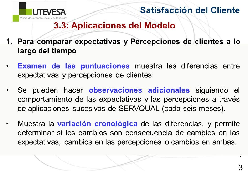 133133133 Satisfacción del Cliente 1.Para comparar expectativas y Percepciones de clientes a lo largo del tiempo Examen de las puntuaciones muestra la