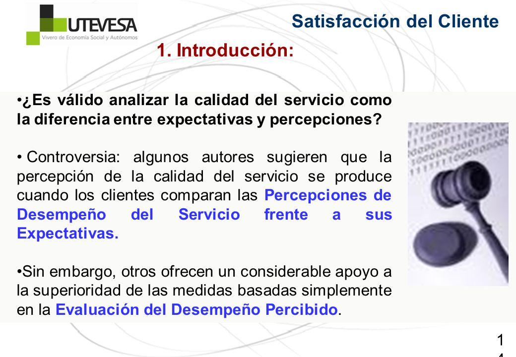 14 Satisfacción del Cliente ¿Es válido analizar la calidad del servicio como la diferencia entre expectativas y percepciones? Controversia: algunos au