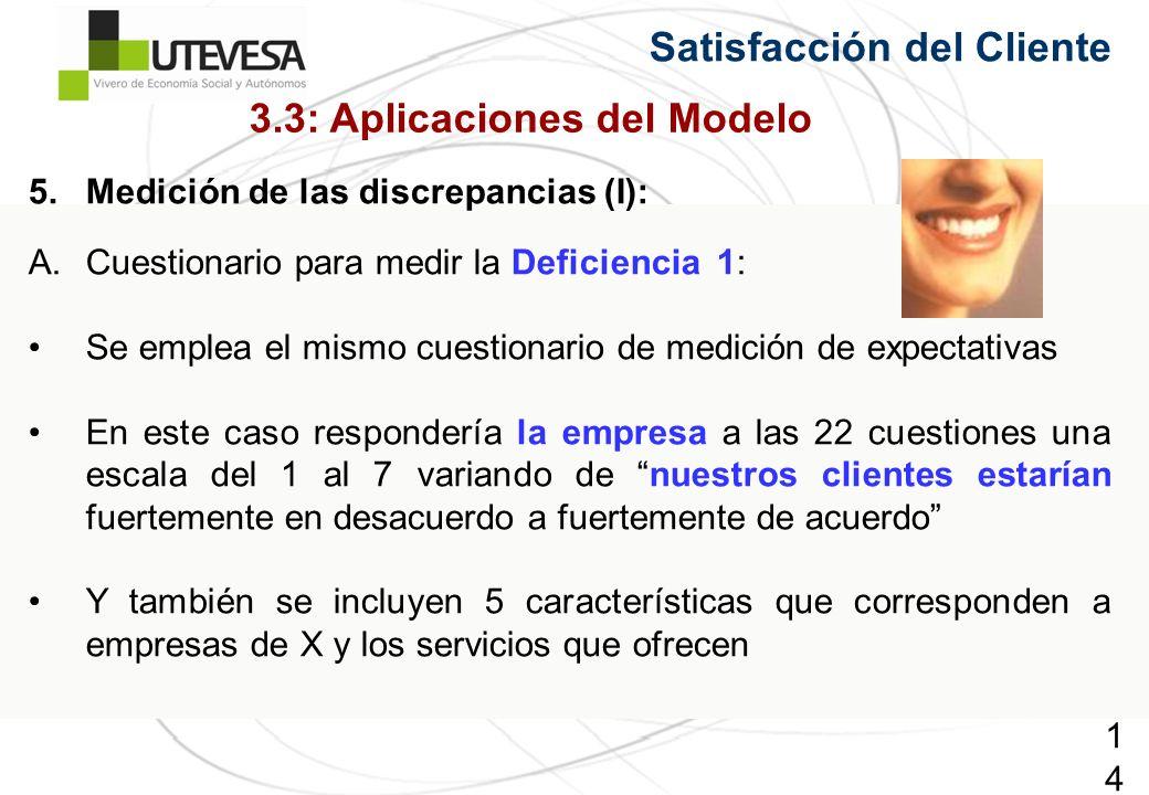 140140140 Satisfacción del Cliente 5.Medición de las discrepancias (I): A.Cuestionario para medir la Deficiencia 1: Se emplea el mismo cuestionario de medición de expectativas En este caso respondería la empresa a las 22 cuestiones una escala del 1 al 7 variando de nuestros clientes estarían fuertemente en desacuerdo a fuertemente de acuerdo Y también se incluyen 5 características que corresponden a empresas de X y los servicios que ofrecen 3.3: Aplicaciones del Modelo