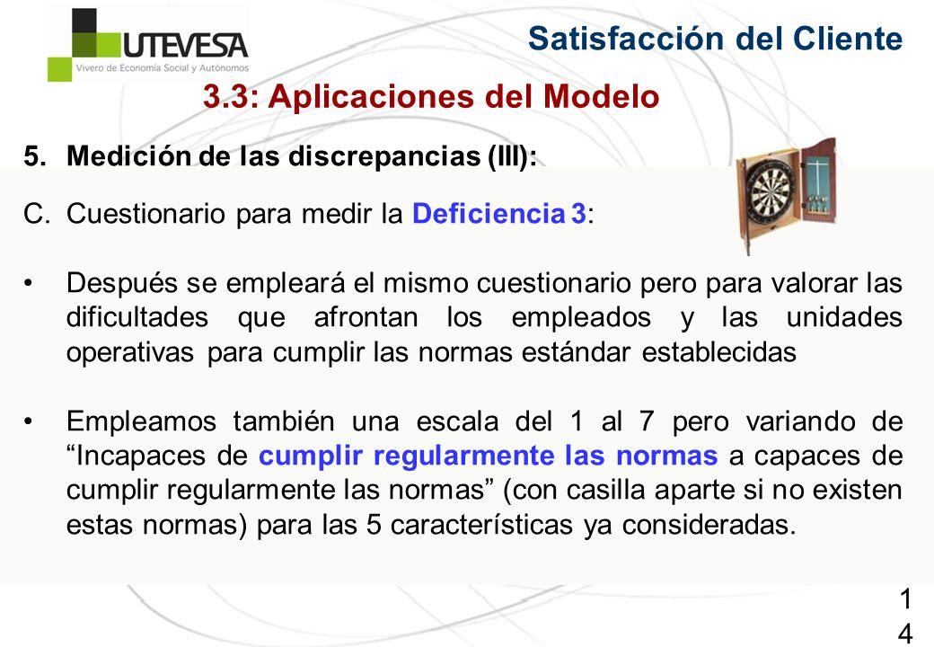 142142142 Satisfacción del Cliente 5.Medición de las discrepancias (III): C.Cuestionario para medir la Deficiencia 3: Después se empleará el mismo cue