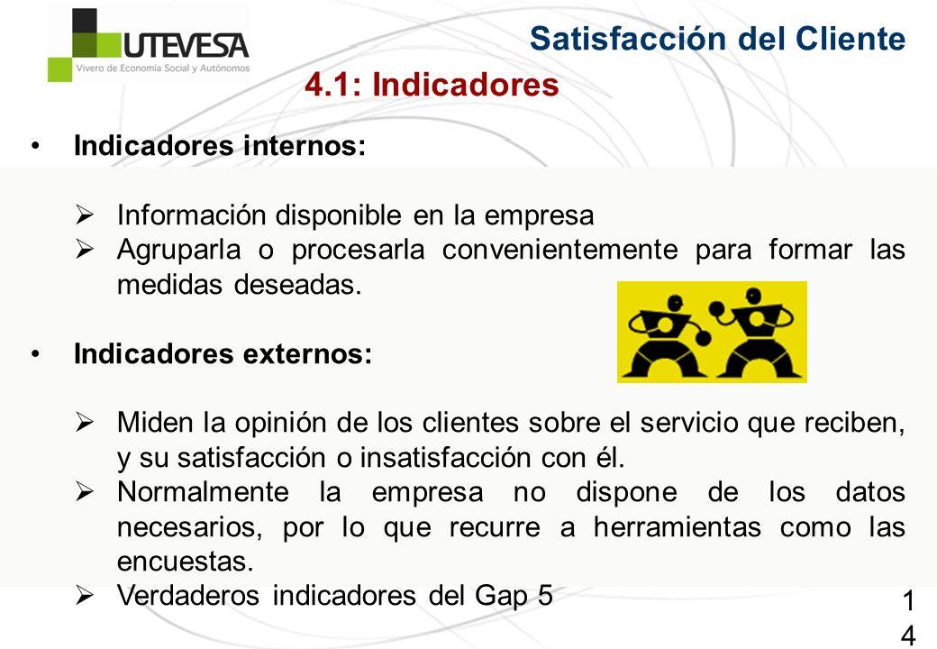 149149149 Satisfacción del Cliente Indicadores internos: Información disponible en la empresa Agruparla o procesarla convenientemente para formar las medidas deseadas.