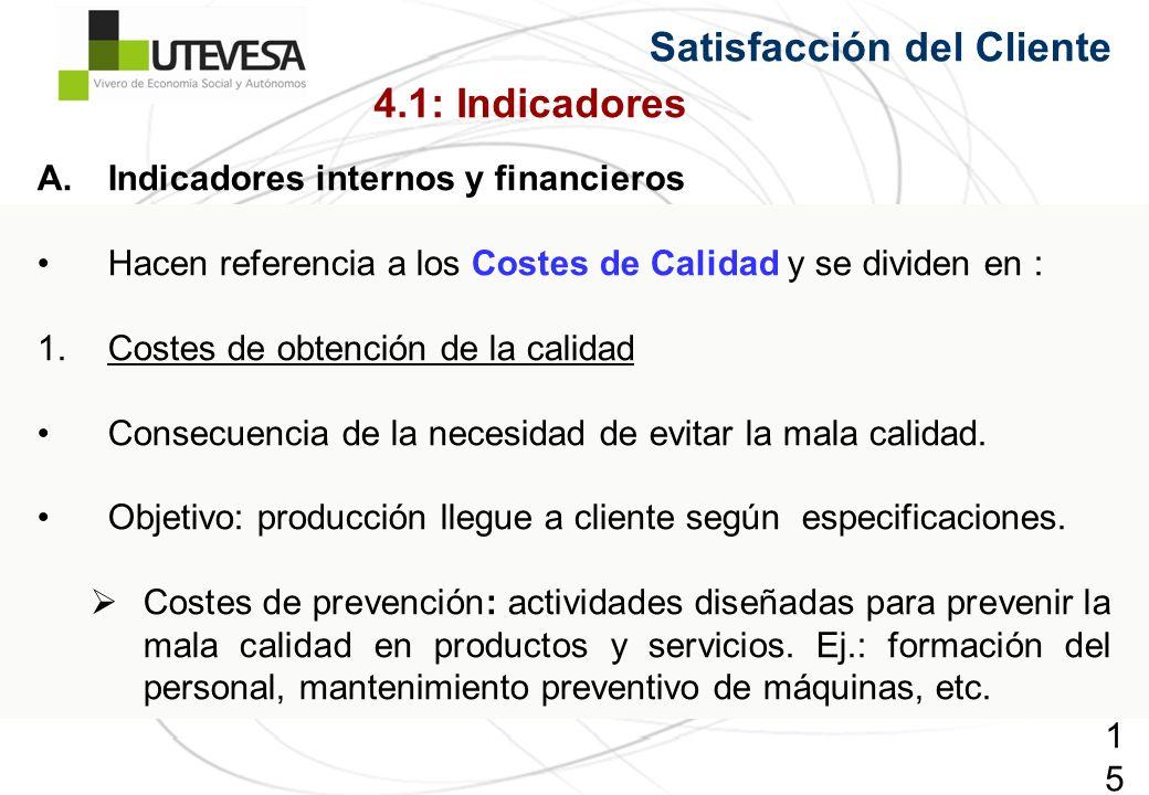 150150150 Satisfacción del Cliente A.Indicadores internos y financieros Hacen referencia a los Costes de Calidad y se dividen en : 1.Costes de obtención de la calidad Consecuencia de la necesidad de evitar la mala calidad.