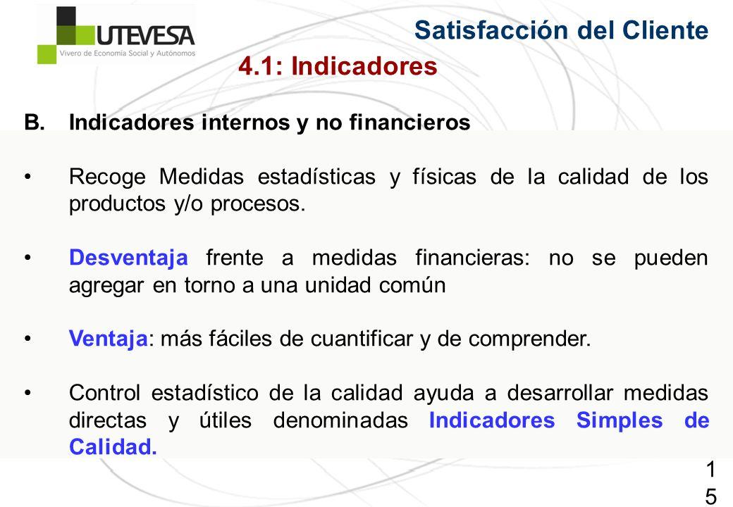 152152152 Satisfacción del Cliente B.Indicadores internos y no financieros Recoge Medidas estadísticas y físicas de la calidad de los productos y/o procesos.