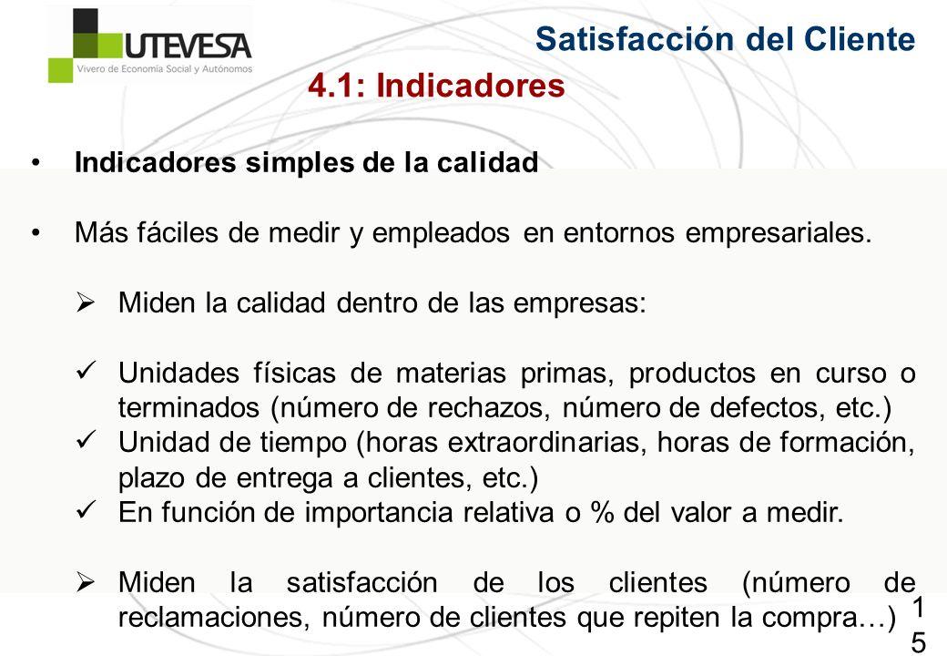 153153153 Satisfacción del Cliente Indicadores simples de la calidad Más fáciles de medir y empleados en entornos empresariales. Miden la calidad dent