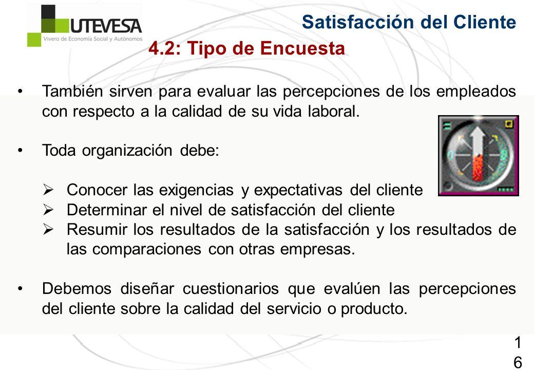 162162162 Satisfacción del Cliente También sirven para evaluar las percepciones de los empleados con respecto a la calidad de su vida laboral.