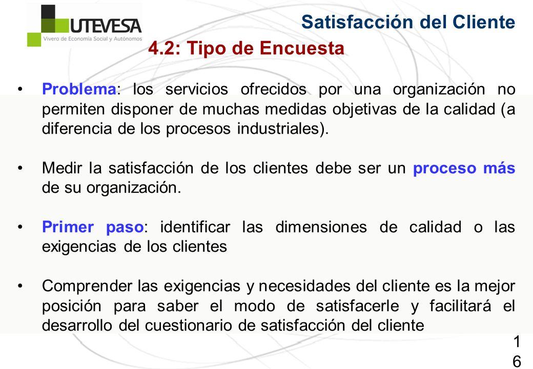 163163163 Satisfacción del Cliente Problema: los servicios ofrecidos por una organización no permiten disponer de muchas medidas objetivas de la calidad (a diferencia de los procesos industriales).