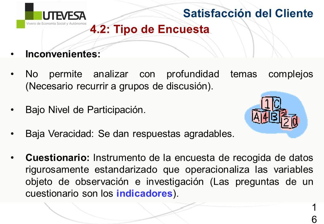 167167167 Satisfacción del Cliente Inconvenientes: No permite analizar con profundidad temas complejos (Necesario recurrir a grupos de discusión). Baj
