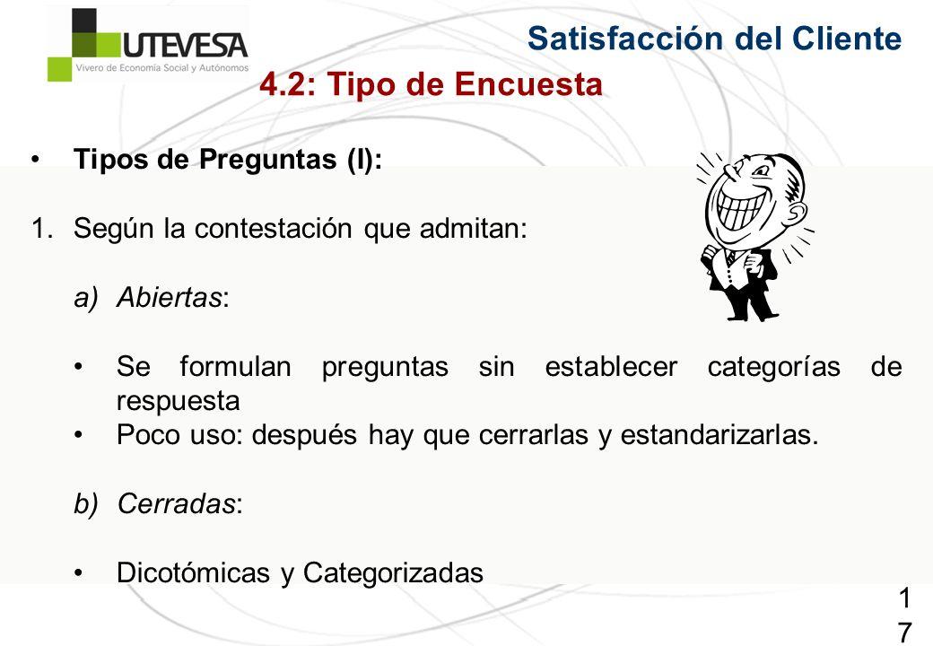 175175175 Satisfacción del Cliente Tipos de Preguntas (I): 1.Según la contestación que admitan: a)Abiertas: Se formulan preguntas sin establecer categorías de respuesta Poco uso: después hay que cerrarlas y estandarizarlas.
