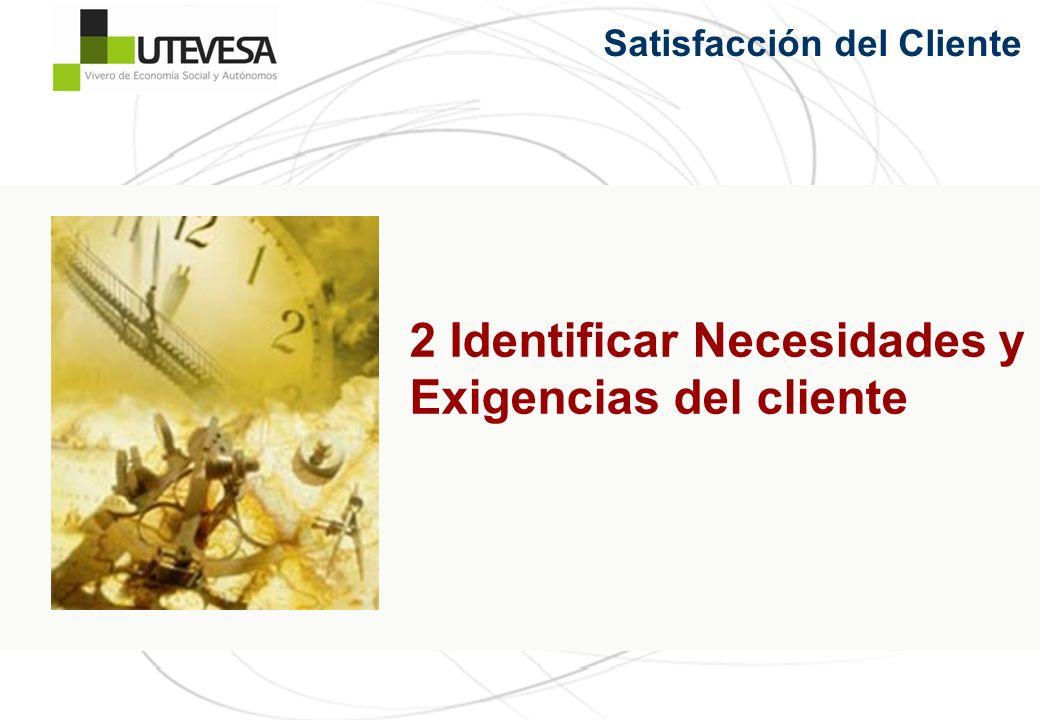 2 Identificar Necesidades y Exigencias del cliente Satisfacción del Cliente