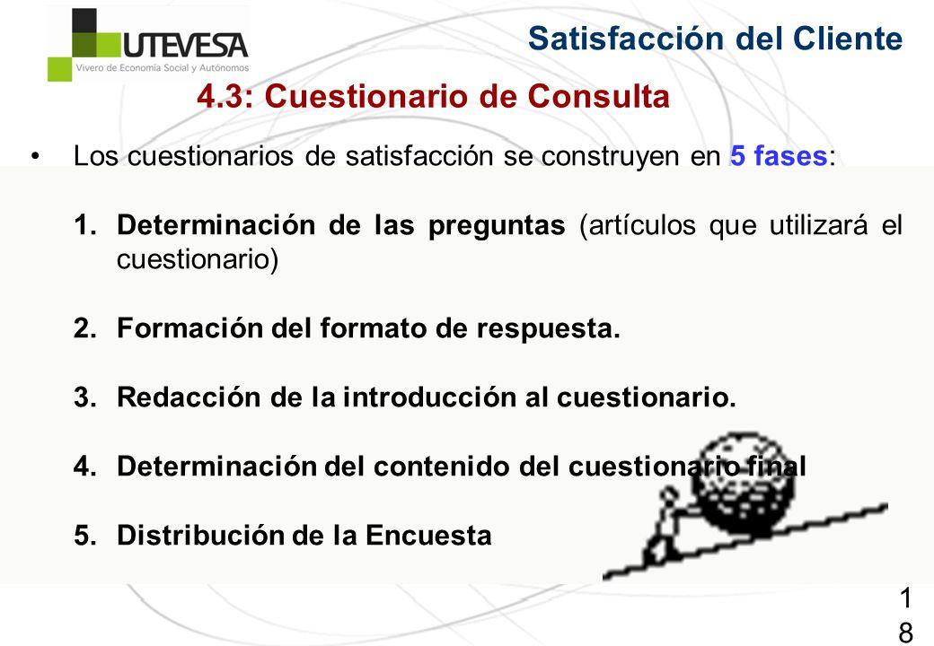186186186 Satisfacción del Cliente Los cuestionarios de satisfacción se construyen en 5 fases: 1.Determinación de las preguntas (artículos que utilizará el cuestionario) 2.Formación del formato de respuesta.