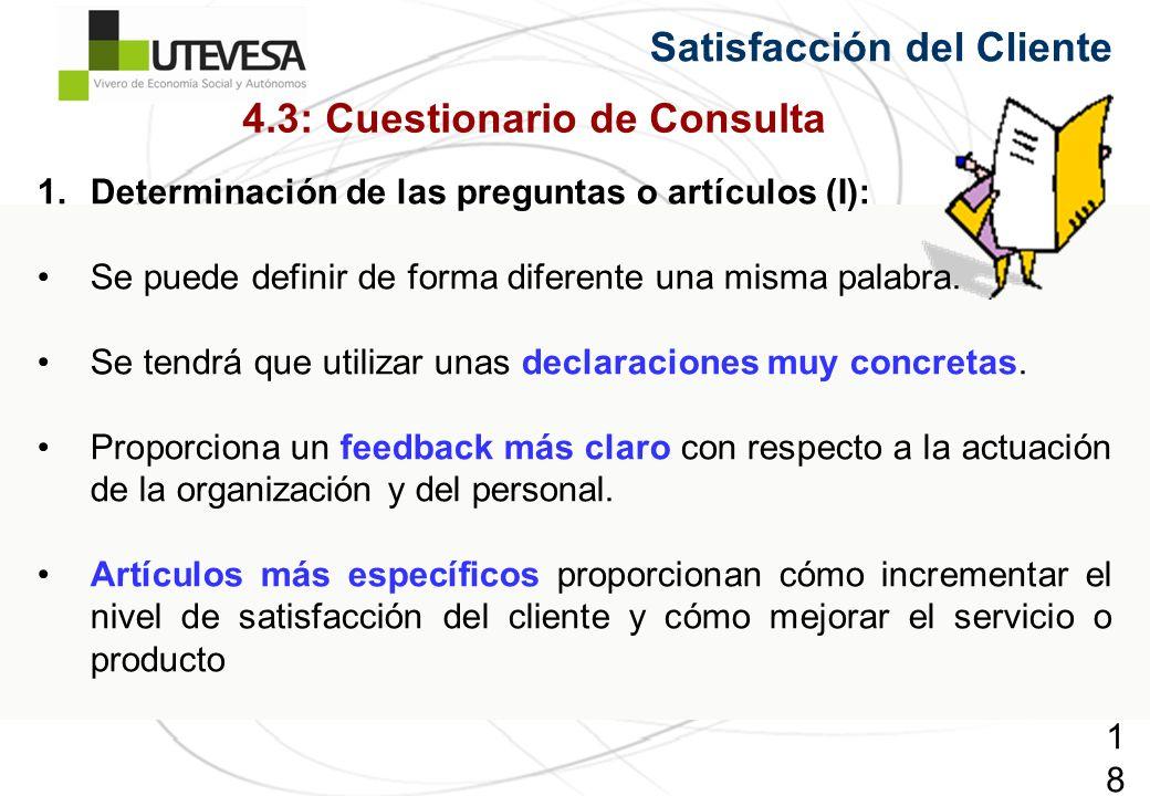 187187187 Satisfacción del Cliente 1.Determinación de las preguntas o artículos (I): Se puede definir de forma diferente una misma palabra. Se tendrá