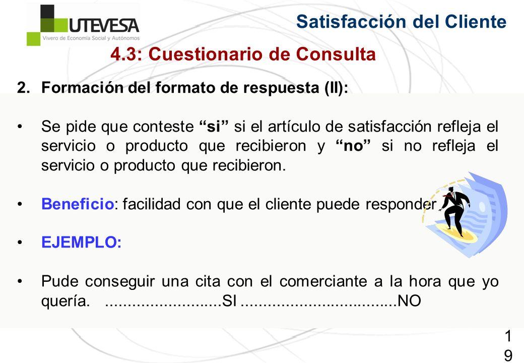 192192192 Satisfacción del Cliente 2.Formación del formato de respuesta (II): Se pide que conteste si si el artículo de satisfacción refleja el servic