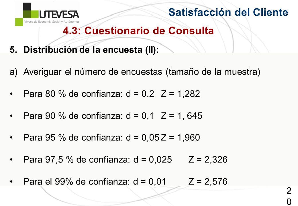 204204204 Satisfacción del Cliente 5.Distribución de la encuesta (II): a)Averiguar el número de encuestas (tamaño de la muestra) Para 80 % de confianza: d = 0.2Z = 1,282 Para 90 % de confianza: d = 0,1Z = 1, 645 Para 95 % de confianza: d = 0,05Z = 1,960 Para 97,5 % de confianza: d = 0,025Z = 2,326 Para el 99% de confianza: d = 0,01Z = 2,576 4.3: Cuestionario de Consulta